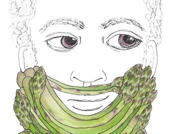 "Asparagus Beard Art Unique Vegetable Beard Art Gift for Him Gift for Guy Manly Beard Mustache Art 5""x7"" Watercolor Pen and Ink Illustration"