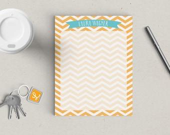 Personalized Notepad Chevron Stripe