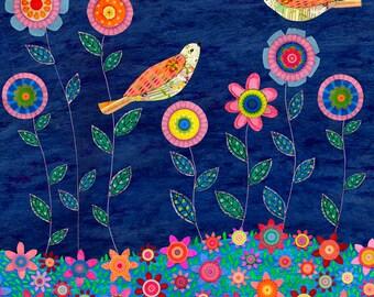 Night Garden Bird and Flower Collage Painting, Mixed Media Bird Collage Art, Nursery Wall Art, Baby Room Decor