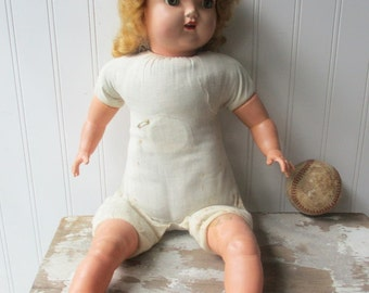 Vintage doll cloth body hard plastic head vinyl limbs Mollye mama doll baby girl doll  creepy cute K7