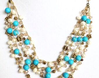 Crochet boho necklace, Turquoise pearl crochet necklace, bib crochet jewelry, multi strand crochet necklace, women birthday gift, OOAK