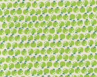 SALE Japanese cotton fabric - Tiny Green Apples K601B - 1/2 yard