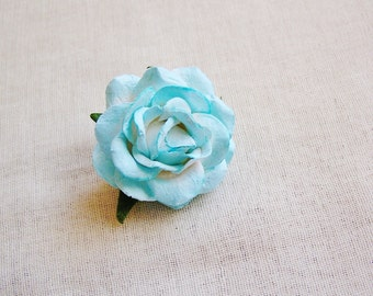 Aqua Blue Sweetheart Rose Millinery flower Brooch Pin- wedding corsage boutonniere, paper jewelry, decoration, embellishment