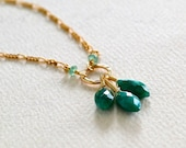 The Emerald City Necklace - emerald necklace, gold and emerald necklace, may birthstone emerald petal necklace, dark green stone necklace