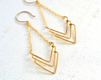 Regatta Earrings - triple chevron earrings, handmade gold shield chevron chandelier earring, nautical jewelry