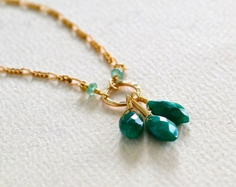 The Emerald City Necklace - emerald necklace, gold and emerald necklace, may birthstone, petals necklace, handmade emerald necklace