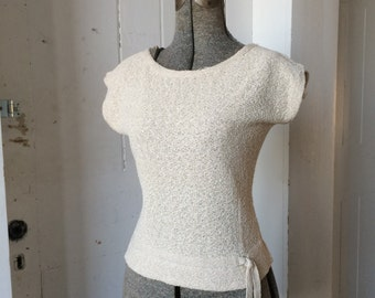 1950s Cream Crepe Knit Sweater Pullover Top Scoop Neckline Knotted Tie Dolman Sleeves Small Medium