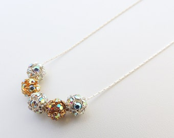 Gold and Silver Rhinestone Beaded Necklace -- Beautiful Sparkly Metal Beads -- Sterling Silver Chain & Clasp -- UK Shop