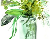 Watercolor flower painting - Grasses in Jar by Gretchen Kelly
