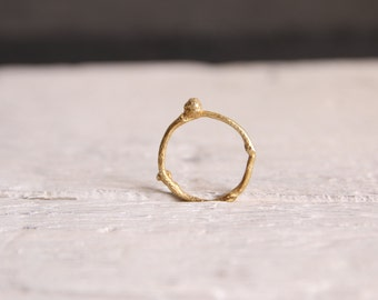 Gold branch ring-Wedding sterling silver twig ring-Nature cast ring-Minimal stackable ring under 40-Woodland jewelry