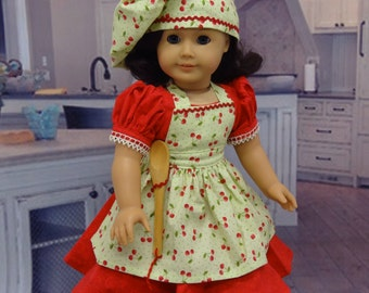 Baking Pies - Vintage styled dress with apron ensemble for American Girl doll