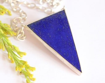 Blue pendant - Lapis lazuli pendant - Lapis pendant -  Bezel pendant - triangle pendant - Gemstone pendant - Gift for her