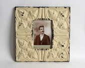 """AUTHENTIC Repurposed Tin Ceiling 4"""" x 6"""" Shabby Chic Vanilla Picture Frame Reclaimed Photo 199-16"""