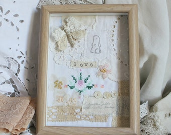Sweet collage wall decor vintage fabrics and trim