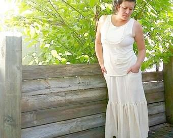 Sweetheart lacey bib blouse (hemp/organic cotton)