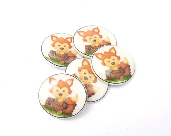 """5 Fox Buttons. 3/4"""" or 20 mm  Handmade Woodland Animal  Decorative Novelty sewing buttons."""