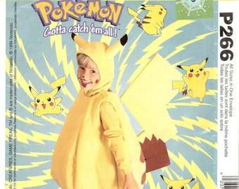 McCalls 2511 P266 P200 Childs POKEMON Costume Pattern PIKACHU Detachable Tail Boys Girls Sewing Size 4, 5-6, 7-8 Breast Chest 23- 28