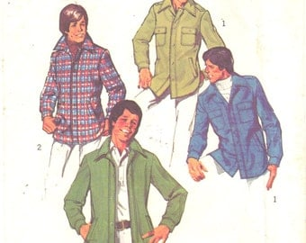 Simplicity 6643 1970s Mens Flannel CPO Shirt Jacket Pattern Teen Boys Vintage Sewing Pattern Size 18 20 Chest 35 - 36 OR 14 16