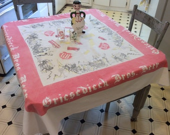 Vintage Tablecloth Griesedieck Brothers Brewery Souvenir St Louis w Coasters