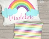 """Daycare / Cot Pillow - girls pillow bright primary colors rainbow colors personalized daycare / pre school nap pillow 12 x 16""""  -  TPPC2"""