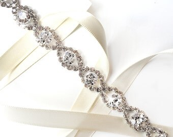 Infinity Rhinestone Bridal Belt Sash - White Ivory Silver Satin Ribbon - Rhinestone Crystal Wedding Dress Thin Belt - Standard Length
