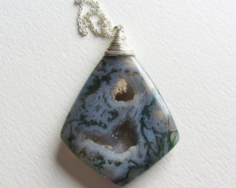 Moss Agate Druzy Statement Necklace - Sterling Silver Gemstone Jewelry