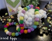 "Easter ""Colored Eggs"" Wool Felt Ball Garland 8-10ft - Wool Felt Balls, Holiday Decor, Photo Prop, Ready To Ship!"