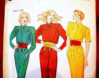 1970s Jumpsuit Pattern Butterick Misses size 14 UNCUT Womens Jumpsuit Sewing Pattern with Wrap Tie Belt