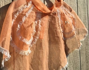 Vintage 1960s 60s Sweet Georgia Peach Sheer Apron 1960's 60's Peek A Boo Gauzy Pockets and Lace