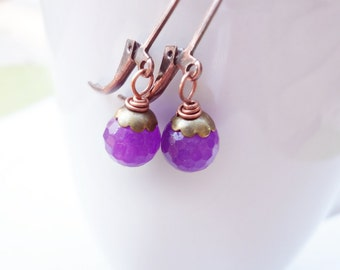Gemstone Earrings, Purple Gemstone Earrings, Copper, Brass, Mixed Metal, Petite Jewelry, Small Earrings, Dangle Earrings, Drop, Agate