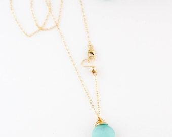 Simple Aqua Chalcedony Gemstone Necklace, Layering, Dainty, Healing, Handmade, 14k Gold Filled, Simply Me Jewelry Aqua Gemstone, SMJNK430