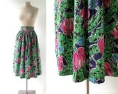 Vintage 1940s Skirt   Paradise Found   Floral Skirt   40s Skirt   25W XS