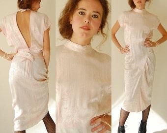 Disco Revival Dress Vintage 80s Palest Pink Brocade Indie Boho Glam Open Back Dress (s m)