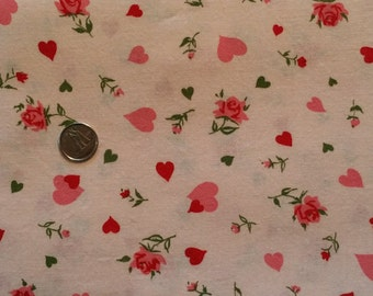 HY001 ~ Valentine fabric Pink fabric Red hearts Pink hearts Pink roses Flannel fabric 3 yards