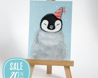 ON SALE | Original ACEO Emperor Penguin Chick in a Party Hat | Cute Bird Art by Lisa Marie Robinson