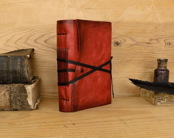 Red Leather Journal, Free Monogramming - Holidays