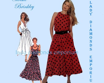 Simplicity 9695 Womens Easy Pullover Dress w Flared Skirt size 4 6 8 10 12 Vintage Christie Brinkley High Shoulder Sewing Pattern Uncut FF