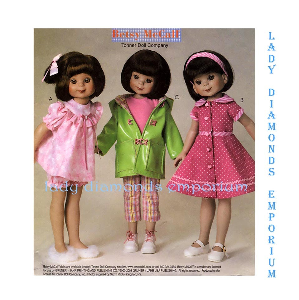 Mccalls M4334 Betsy Mccall Doll Clothes For 8 And 14 Dolls