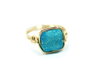 Gold Ring, Druzy Ring, Druzy Jewelry, 14 Karat Gold Fill, Wire Wrapped Ring, Blue Ring, Gemstone Ring, Blue Druzy Ring, Ring Size 4 - 14