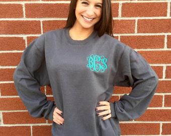 Monogrammed sweatshirt , personalized sweatshirt , embroidered ladies sweatshirt, womans sweatshirt
