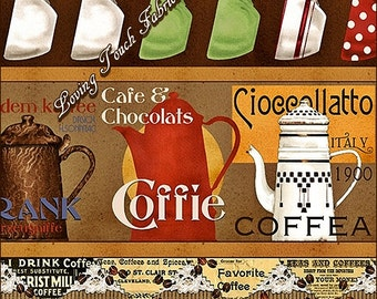 Daily Grind QT #21673-A Kitchen Coffee Pots Words Striped Cotton Fabric Priced Per Yard