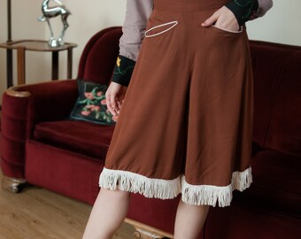 Vintage 1950s Pants - Brown Rayon Gabardine H Bar C Western Gaucho Pants with Cream Accents and Fringe