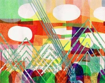 Fox Beam, a limited edition print, abstract art, colorful, foxes, animals, mountains, geometric art, mid century art, art print, kids art