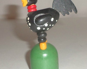 Vintage Push Button Rooster Toy - Wood Toy - Wood Rooster Toy - Push Button Collapsible  Toy - Push Button Puppet Toy - Rooster Pecking Toy