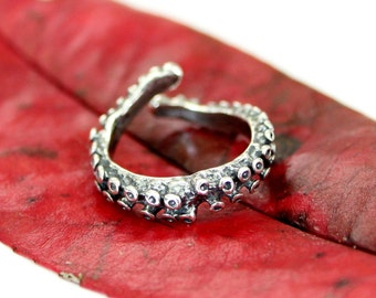 Tentacle Ring, Knuckle Ring, Pinkie Ring, Midi Ring, Sterling Silver Octopus Jewelry 491
