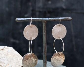 Triple Threat Sterling Silver Linked Hoop Earrings - Rustic - Boho Chic - Dangle Earrings - Organic Hoops