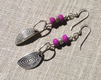Hot Pink and Silver Long Dangle Earrings - Sterling Silver Earrings - Bright Pink - Gypsy Chic - Czech Glass Beads