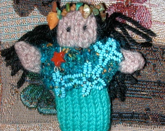 Small WINONA Doll in Knitted Dress Beads of Aqua Shades Headband of Turquise Chips and Beads of Myrrh