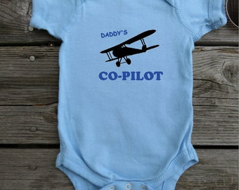 Daddy's Co-Pilot Future Pilot baby bodysuit.  White Long Sleeve available