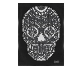 Black Sugar Skull Kitchen Towel